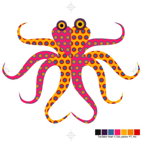 Octopus window display graphic art for Ted Baker