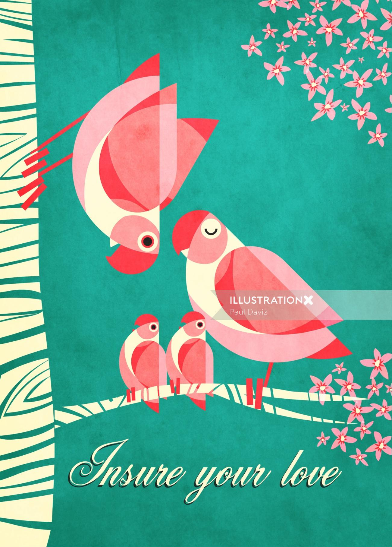 Modern graphic colorful macaw illustration