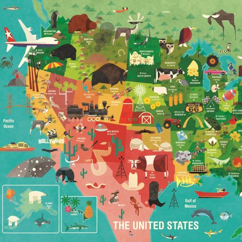 Wall art of of U.S. map