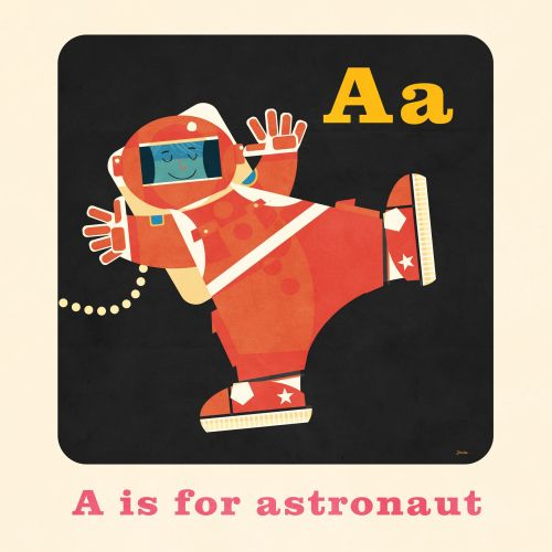 Graphic Illustration A is for astronaut