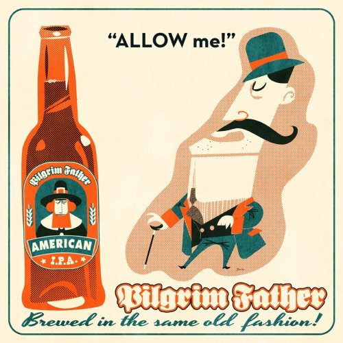 Retro hipster beer for Pilgrim Father IPA