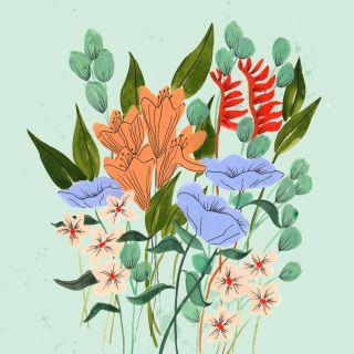 Flower garden graphic art
