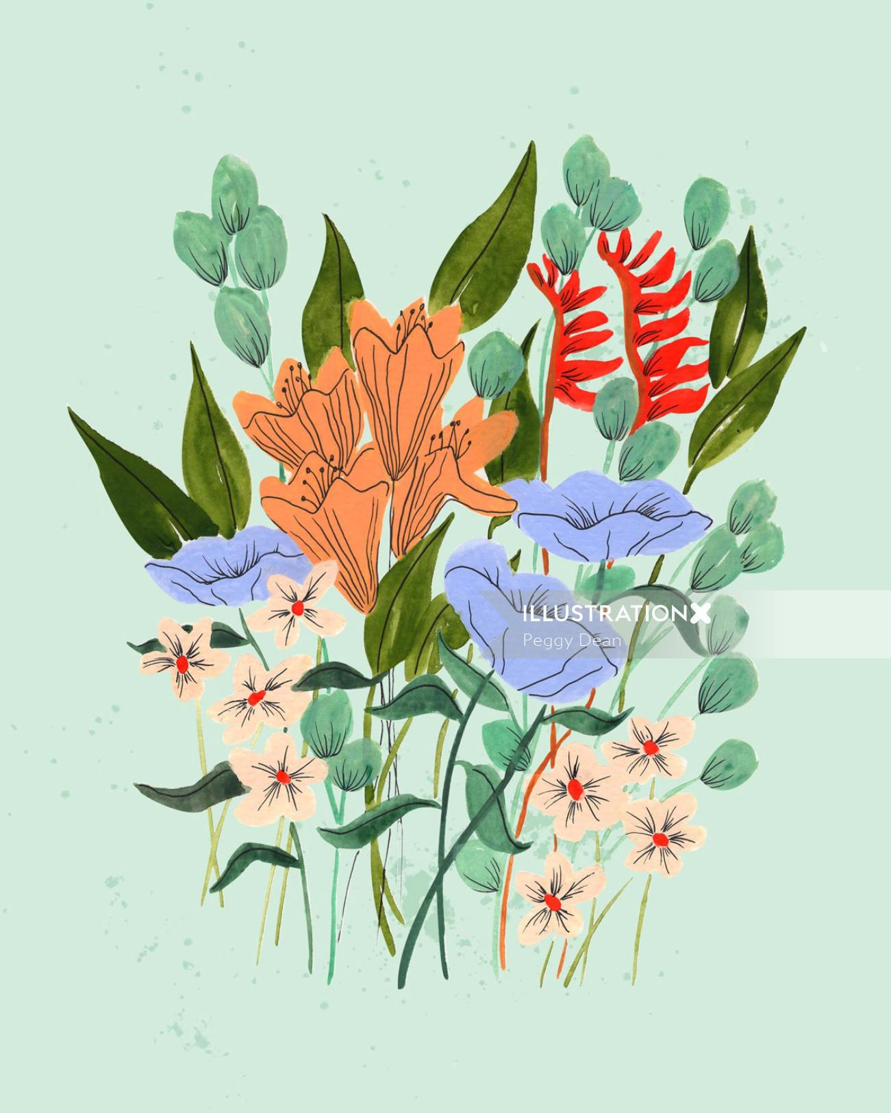 Flower garden graphic art