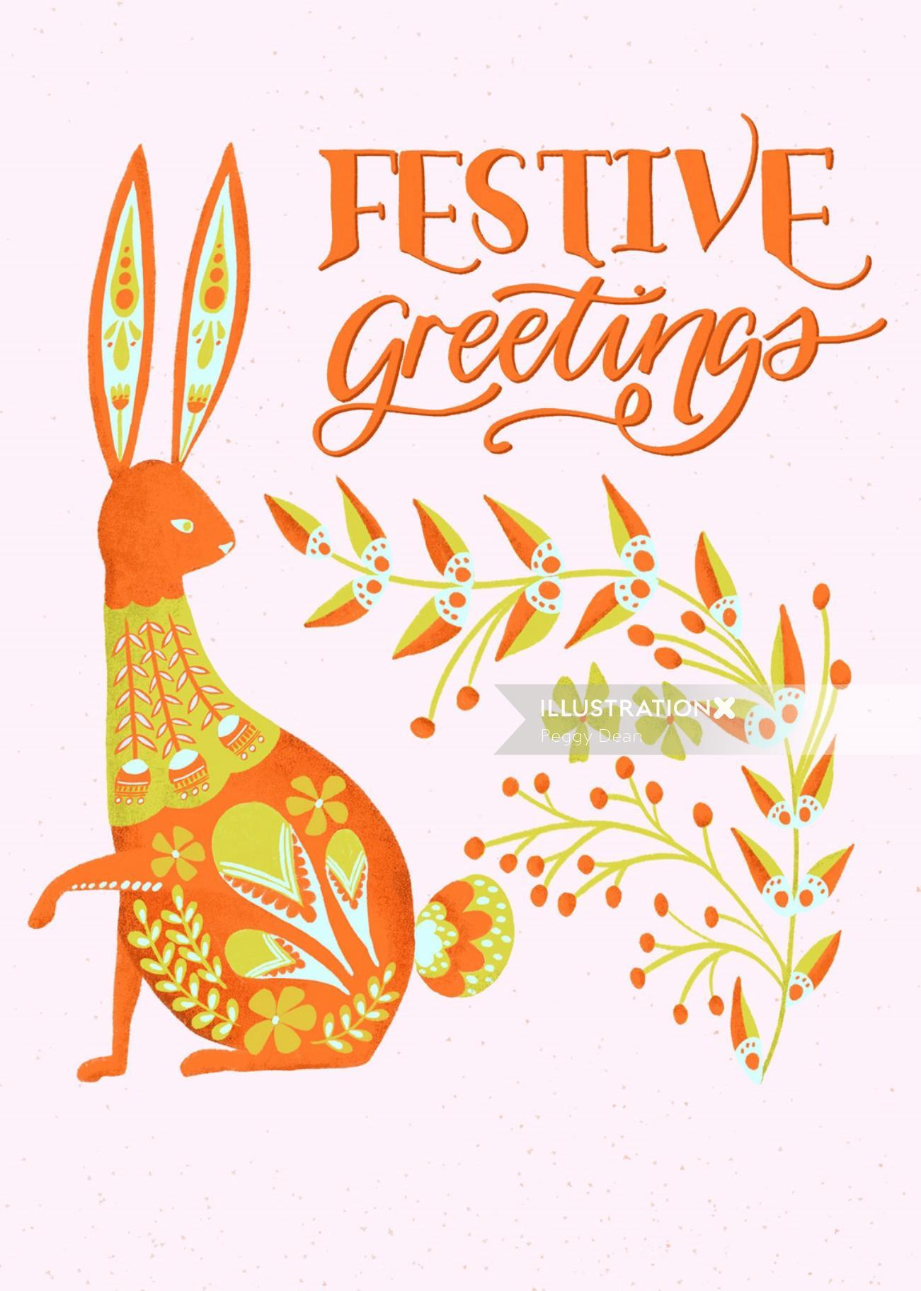 folk art Rabbit and lettering illustration