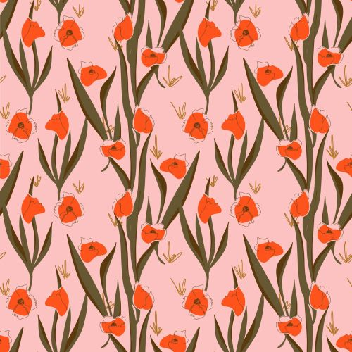 Graphic red flower pattern