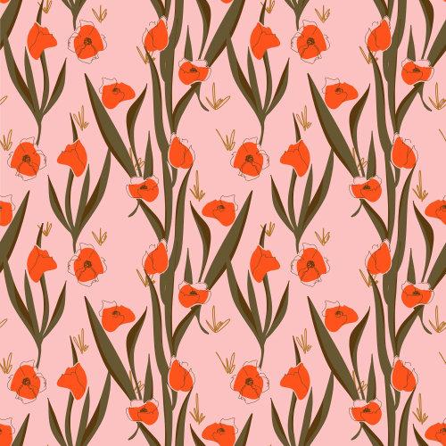 Graphic red flower pattern