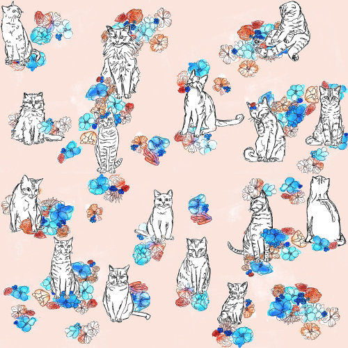 illustration florale et chat