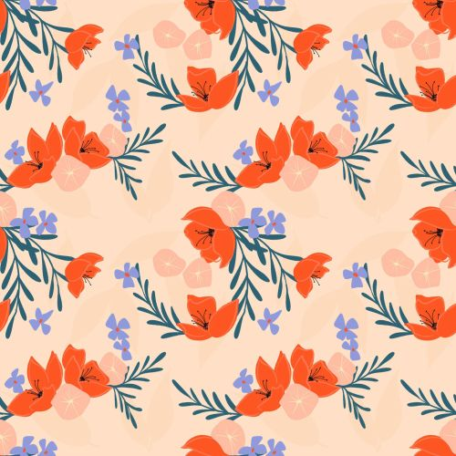 Flat colors flowers and leaves