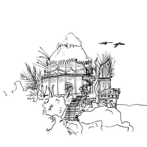 Line artwork of hut
