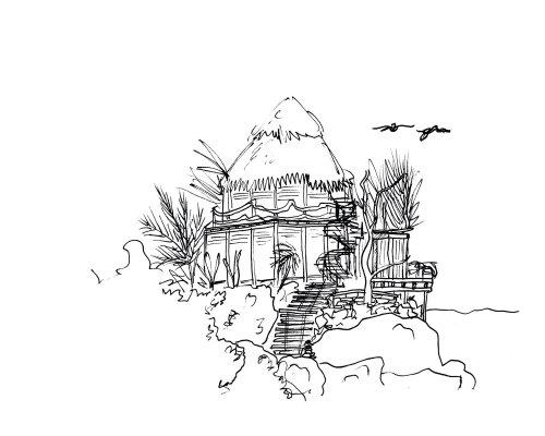 Line artwork of hut