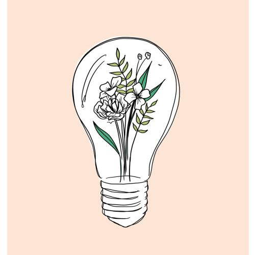 Line art of flowers inside light bulb
