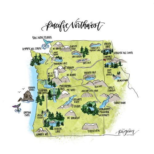 Pacific Northwest map illustration
