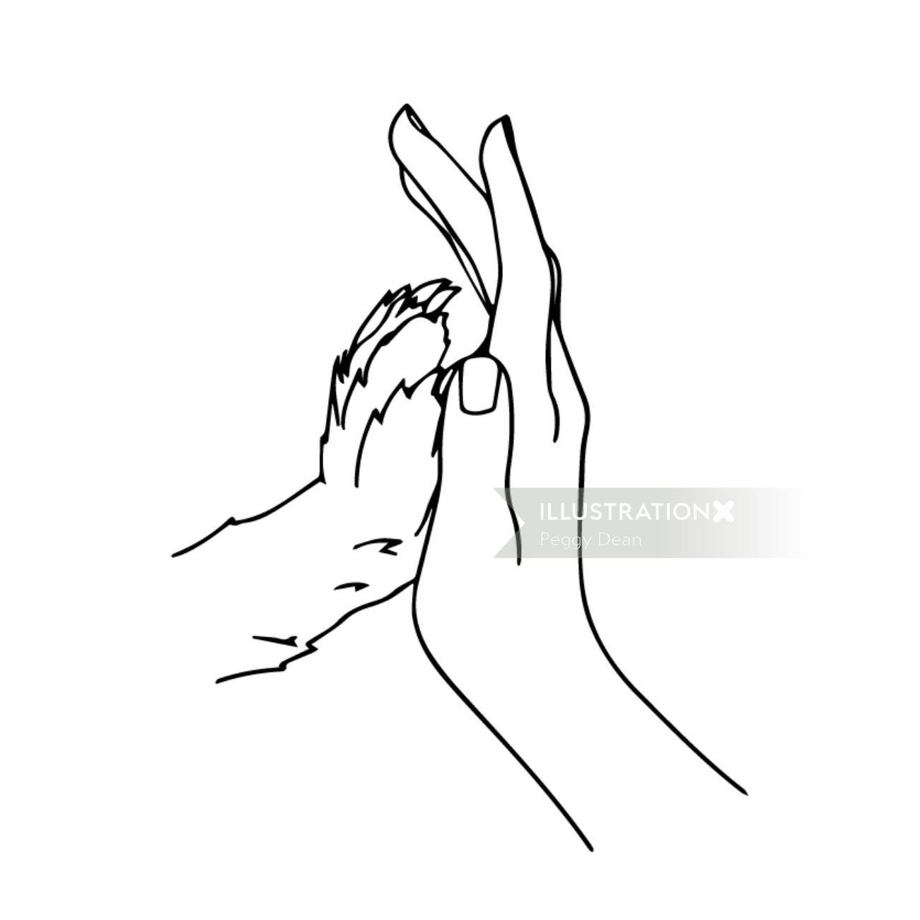 Line artwork of human and animal hands