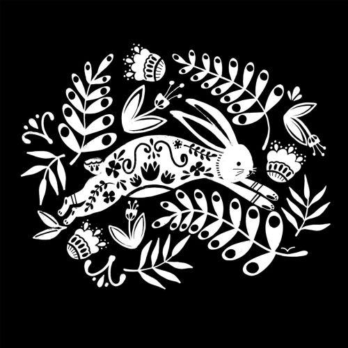 Black and white illustration of Rabbit