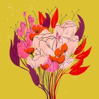 Flower bouquet graphic design by Peggy Dean