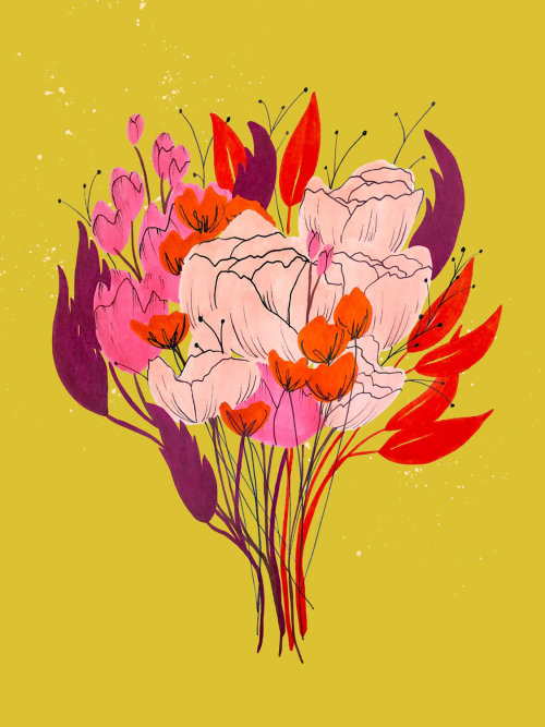 Flower bouquet graphic design by Peggy Dean