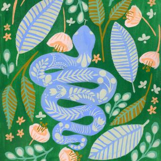 Gouache illustration of snake by Peggy Dean