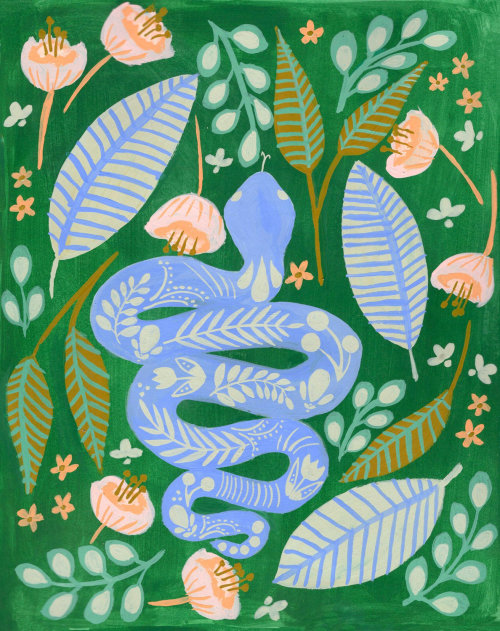 Illustration de gouache de serpent par Peggy Dean