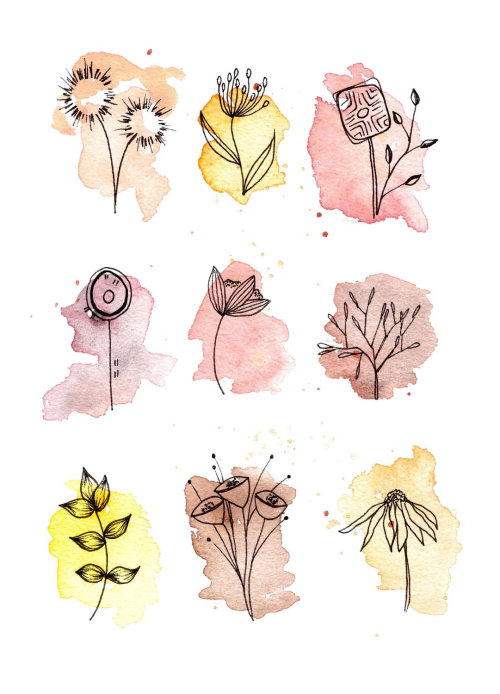 illustration aquarelle de feuilles