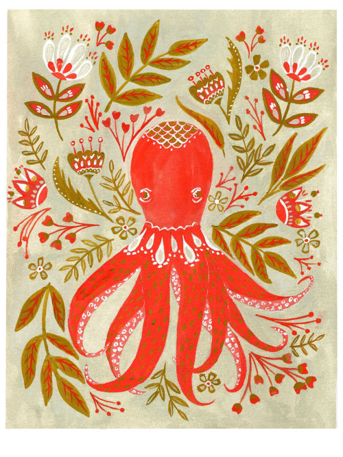 Folk art octopus in gouache