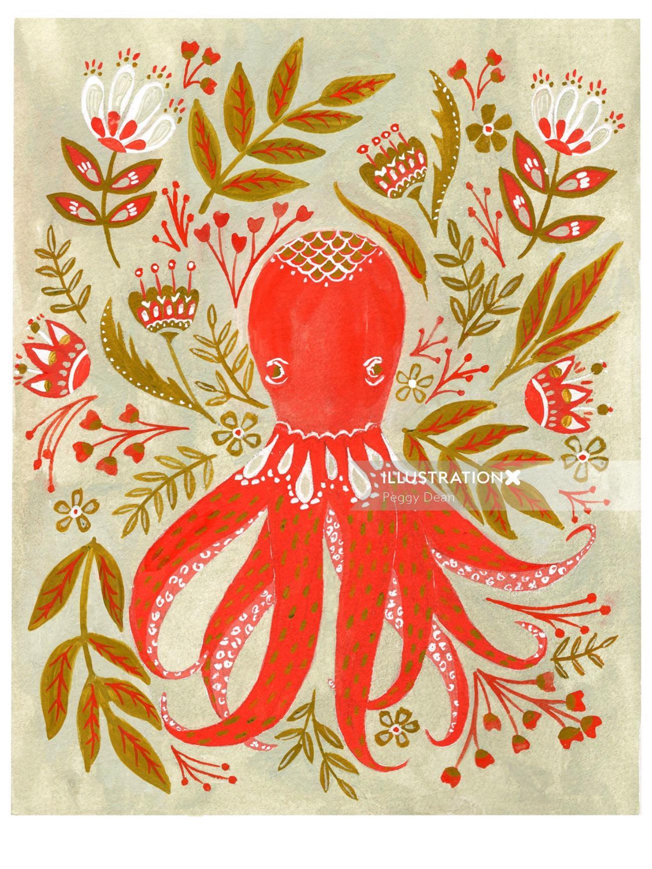 Folk art octopus in gouache