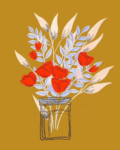 Graphic design of Flowers in glass vase