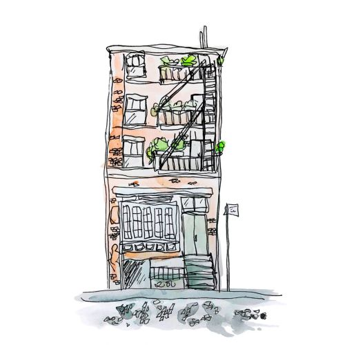 Apartment sweet apartment watercolor drawing