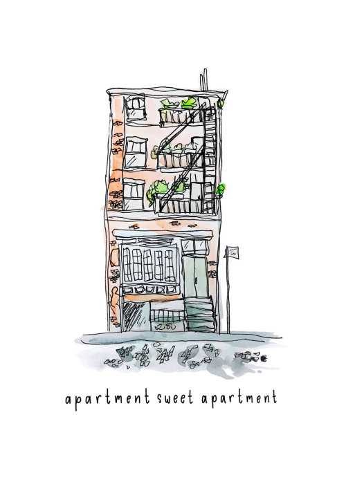 Appartement aquarelle appartement doux dessin