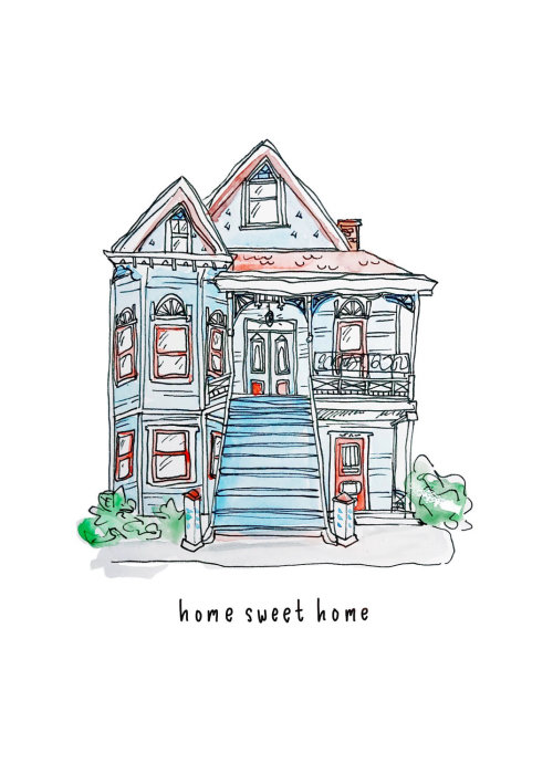 Watercolor drawing of Home sweet home