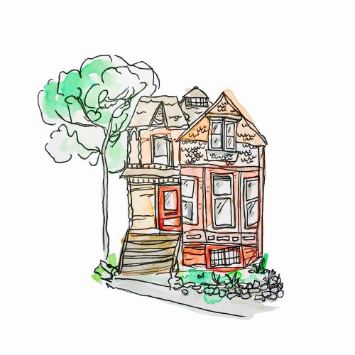 Watercolor drawing of beautiful house