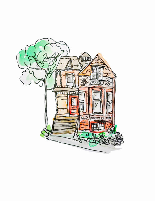 Watercolor drawing of beautiful house