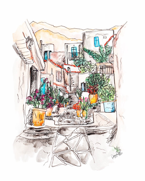 Drawing of flower pots in the street