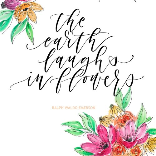 The earth laughs in flowers calligraphy