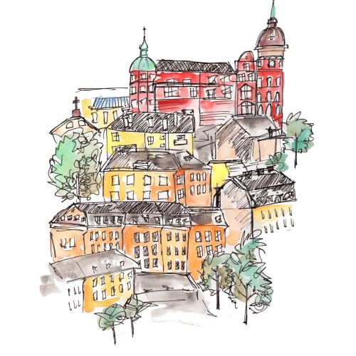 Urban city sketching art by Peggy Dean