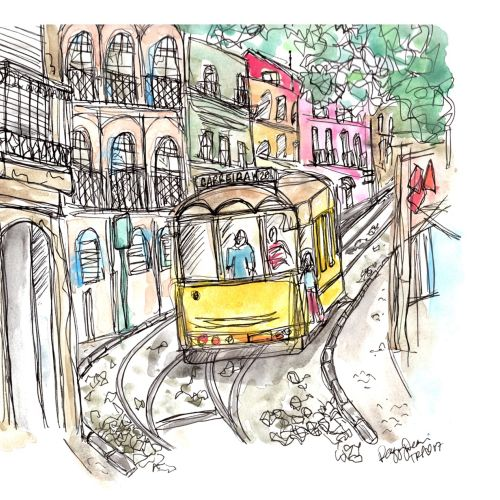 Illustration of a traditional old train moving down the street
