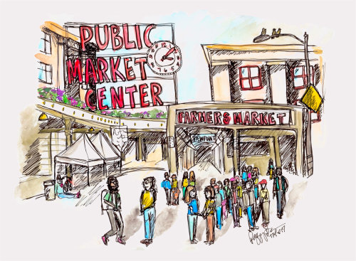 Public market center drawing
