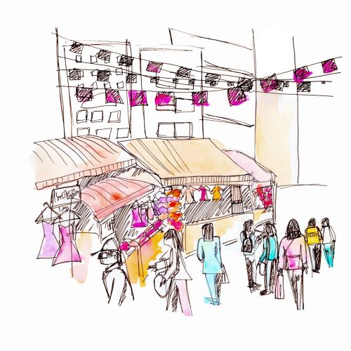 Market street sketch artwork