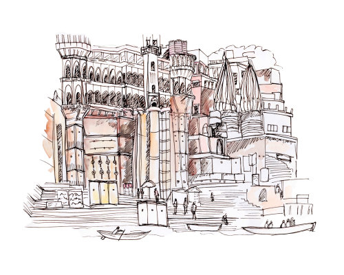 Architecture illustration of Varanasi in India