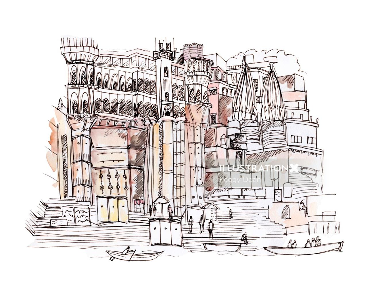 Architecture illustration of Varanasi in India
