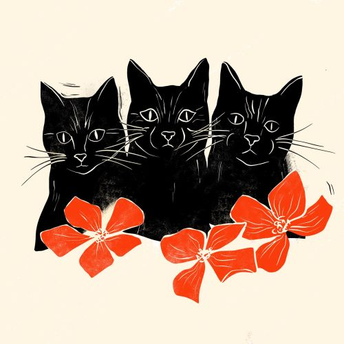 Black cat trio with woodcut feel