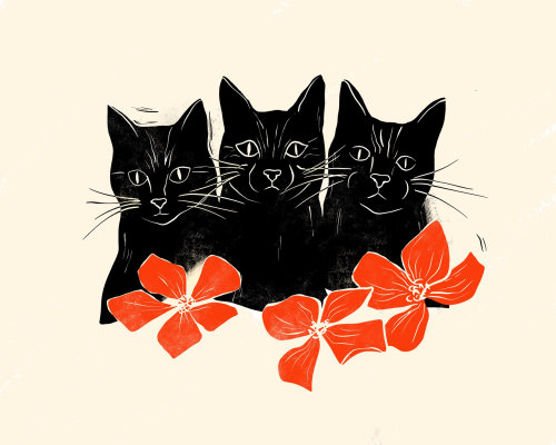 Black cat trio with woodcut feel