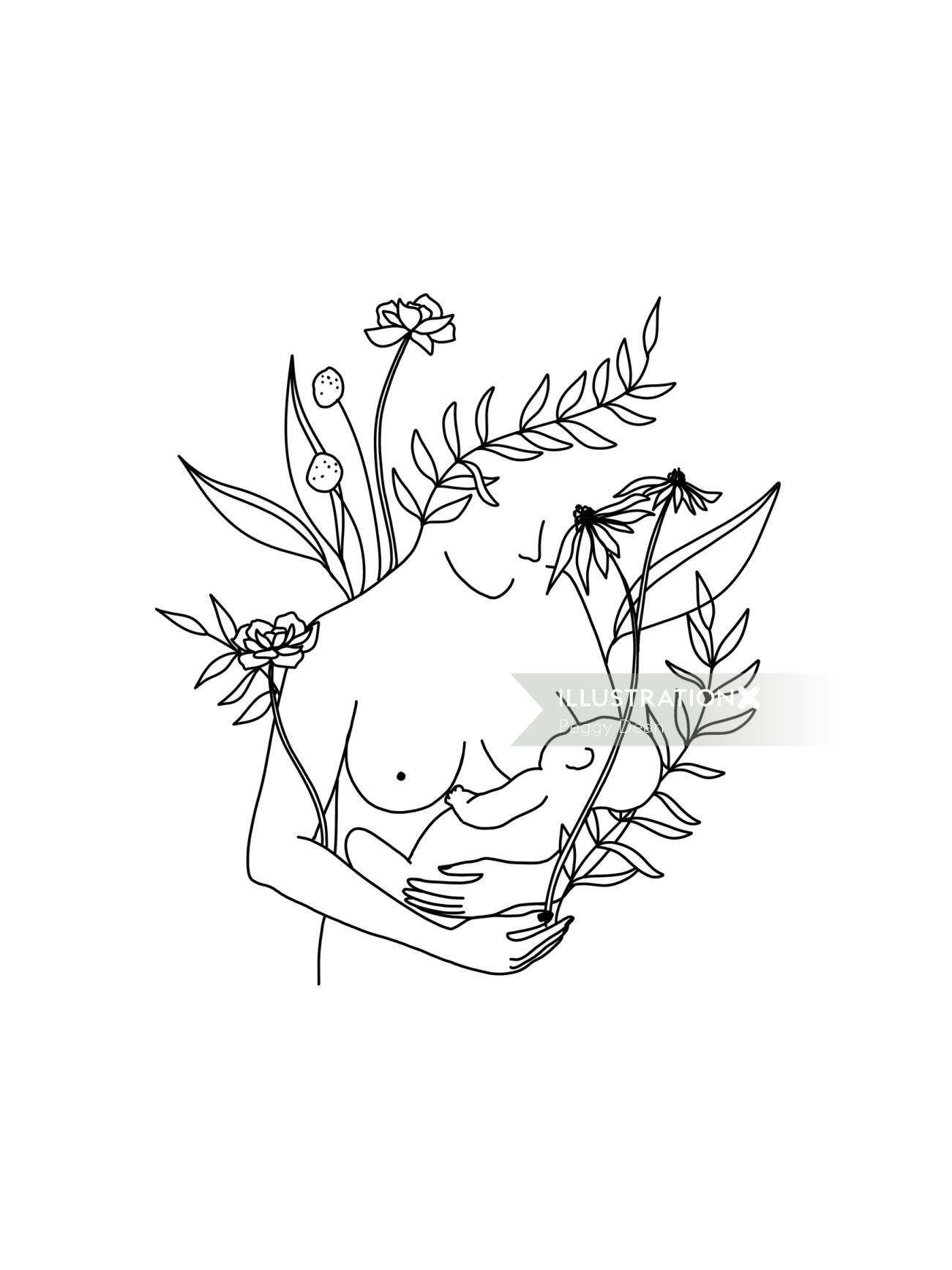 Line drawing of mother breastfeeding surrounded by nature