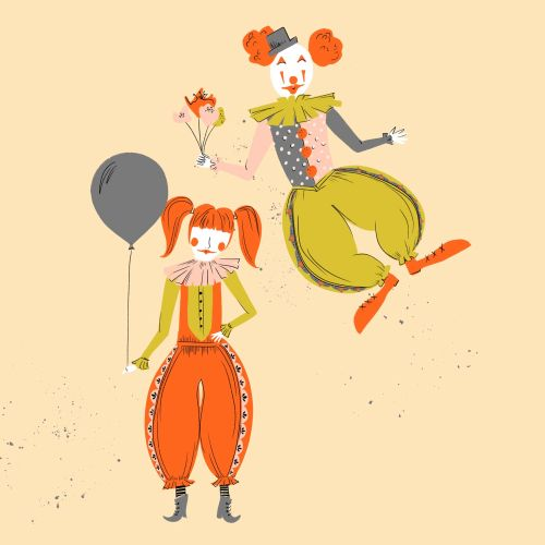 Cartoon illustration of retro clown week