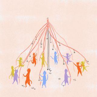 Cats dancing around a maypole