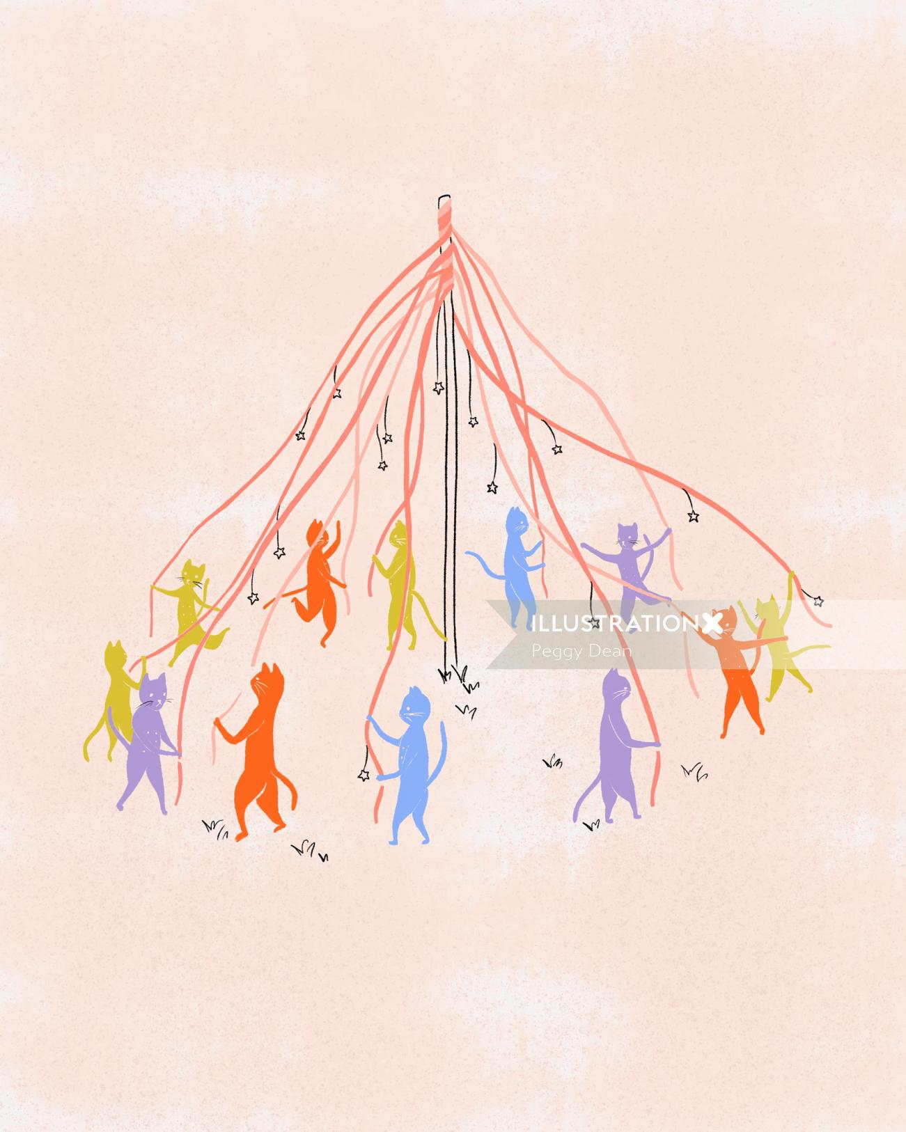 Cats dancing around a maypole