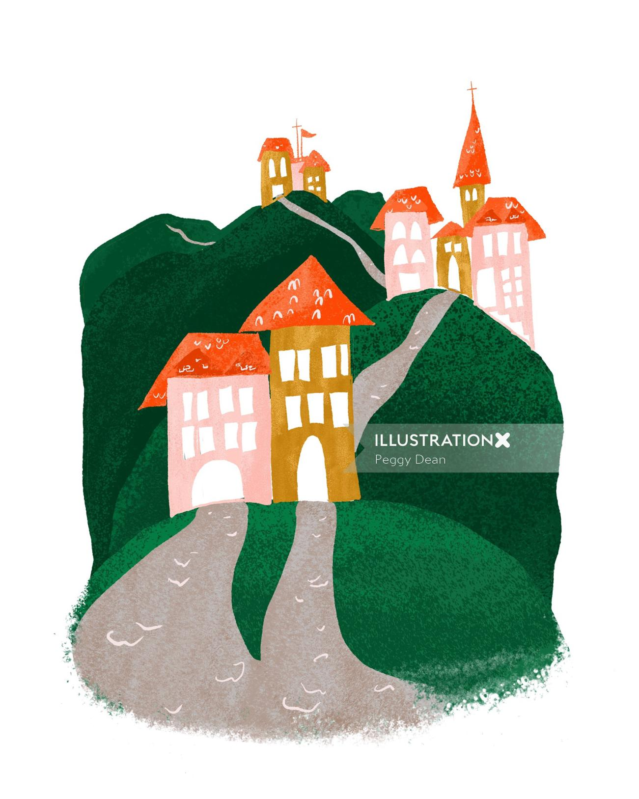 Storybook hillside village