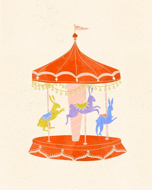 Rabbit carnival carousel