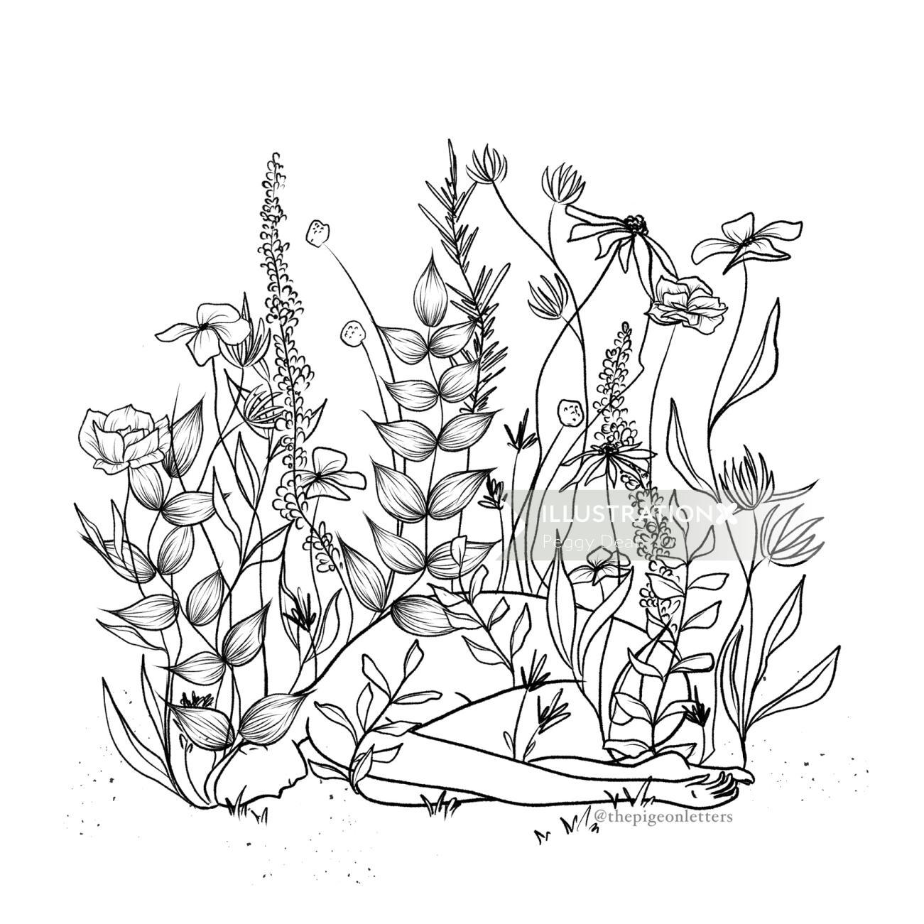 Woman buried in overgrown wildflowers