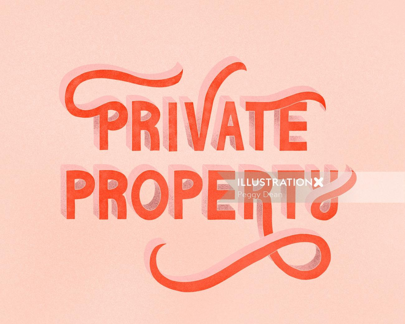 Private property block lettering with flourishes