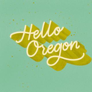 """Hello Oregon"" lettering art by Peggy Dean"